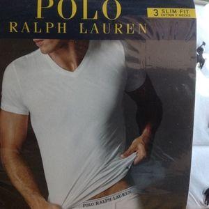 Polo Slim Fit V Neck Tees White S